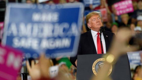 ERIE, PA - OCTOBER 10: U.S. President Donald Trump speaks to supporters at a rally at the Erie Insurance Arena on October 10, 2018 in Erie, Pennsylvania. This was the second rally hosted by the president this week, including one in Iowa yesterday.  (Photo by Jeff Swensen/Getty Images)