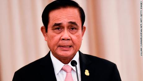 Thai Prime Minister Prayut Chan-O-Cha speaks during a joint press conference at the Government House in Bangkok on Oct. 24, 2018.