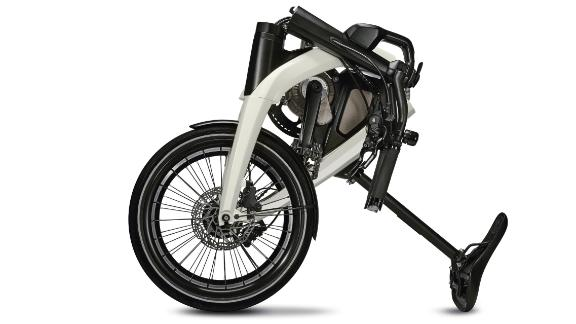 One of the new GM e-bikes is is foldable for easy storage.