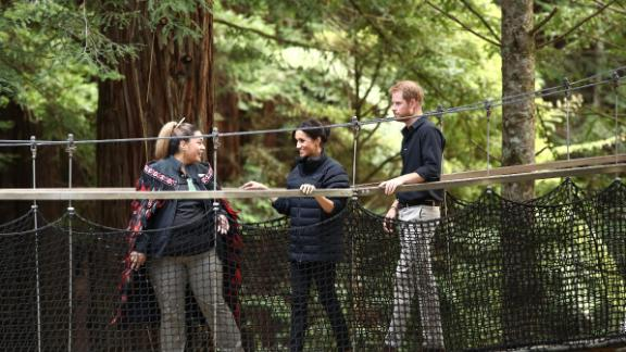 Prince Harry and Meghan, Duchess of Sussex visit the Redwoods Tree Walk in Rotorua.