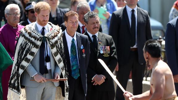 Prince Harry is welcomed onto the Te Papaiouru Marae with a traditional powhiri (Maori welcome) in Rotorua.