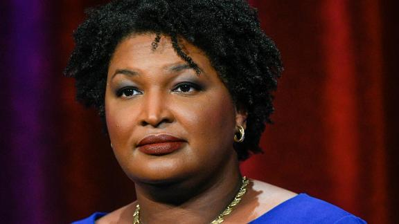 Georgia Democratic gubernatorial candidate and former state representative Stacey Abrams stands ready to face off with Stacey Evans in a debate Tuesday, May 15, 2018, in Atlanta. (AP Photo/John Amis)
