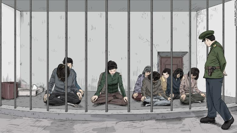 Women in the sitting position in a pre-trial detention facility run by the police. The report alleges that detainees are commonly forced to assume this position in pre-trial detention and temporary holding facilities.