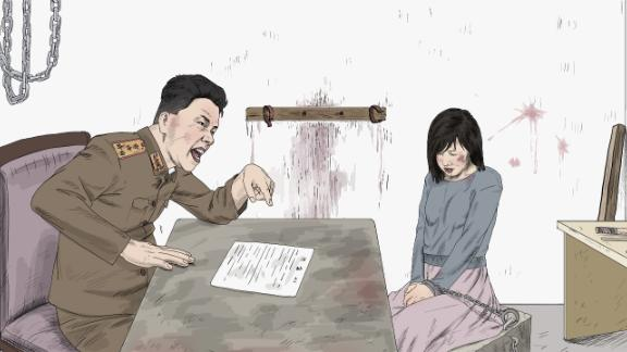 Woman being questioned by a secret police investigator. Former detainees said that secret police investigators can easily harass female detainees during questioning.
