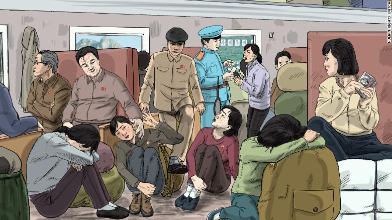 Male government officials and female traders sit in a railway carriage, while a railroad officer checks a female trader's ticket. The report alleges that in railway carriages, women often face harassment by male government officials and railroad officers.