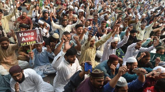 Supporters of Tehreek-e-Labbaik chant slogans Wednesday during a protest against the acquittal of Asia Bibi in Lahore.