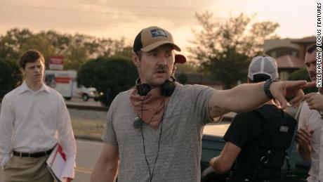 Lucas Hedges and Joel Edgerton on the set of 'Boy Erased.'