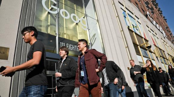 Google employees walk off the job on Thursday in New York.