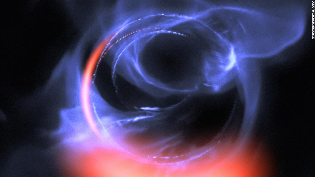 Further evidence of a supermassive black hole at the center of the Milky Way galaxy has been found. This visualization uses data from simulations of orbital motions of gas swirling around about 30% of the speed of light on a circular orbit around the black hole.