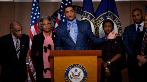 Congressional Black Caucus Chairman Rep. Cedric Richmond, D-La. speaks during a news conference on Capitol Hill in Washington, Thursday, Jan. 5, 2017, with the Congressional Black Caucus members to discuss the nomination of Sen. Jeff Sessions, R-Ala. for attorney general. (AP Photo/Zach Gibson)