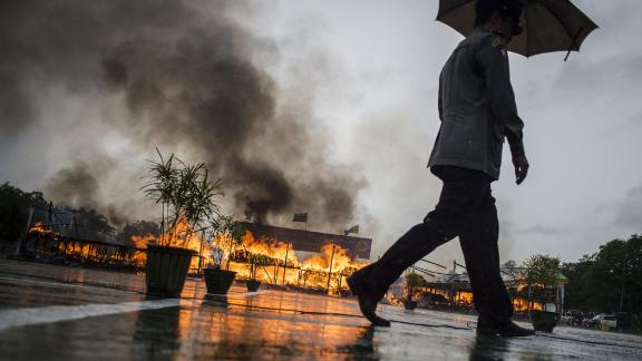Myanmar law enforcement authorities burn seized illegal drugs worth $187 , marking the International Day against Drug Abuse and Illicit Trafficking during a ceremony in Yangon on June 26.