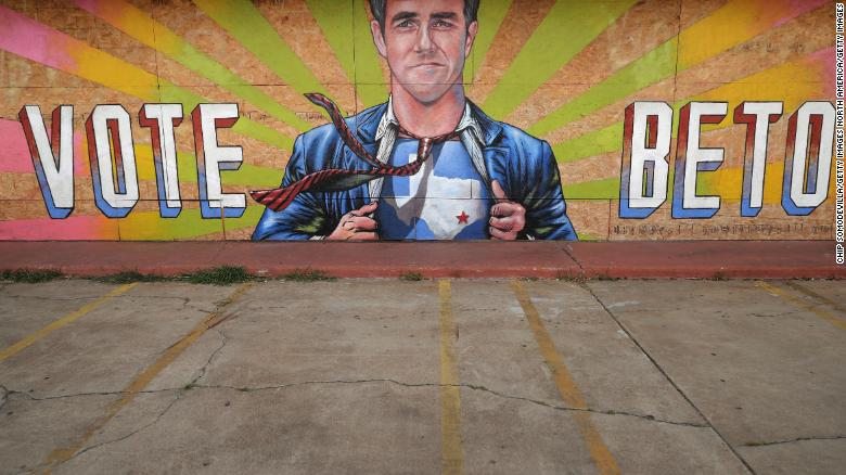 A mural of U.S. Senate candidate Rep. Beto O'Rourke (D-TX) by artist Anat Ronan covers an empty storefront in the Second Ward neighborhood October 30, 2018 in Houston, Texas.