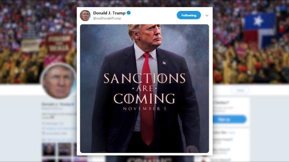 """NS Slug: TRUMP TWEET:SANCTIONS ARE COMING  Synopsis: Trump tweets image with """"Sanction are Coming""""  Video Shows: Trump tweets image with """"Sanction are Coming""""     Keywords: POTUS"""