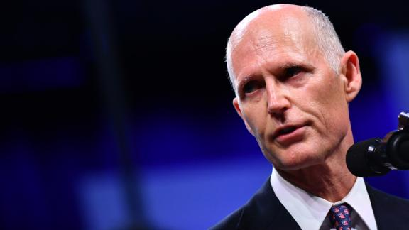 Florida Governor Rick Scott addresses the Chiefs of Police (IACP) annual convention at the Orange County Convention Center in Orlando, Florida on October 8, 2018. (Photo by MANDEL NGAN / AFP)        (Photo credit should read MANDEL NGAN/AFP/Getty Images)