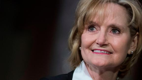 UNITED STATES - APRIL 9: Sen. Cindy Hyde-Smith, R-Miss., attends her swearing-in ceremony the Capitol