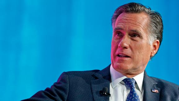 Mitt Romney is interviewed at the Silicon Slopes Tech Conference in January 2018 in Salt Lake City, Utah. (Photo by George Frey/Getty Images)