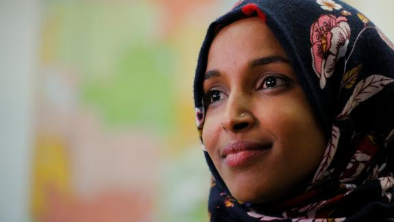 U.S. Democratic congressional candidate Ilhan Omar is interviewed by Reuters at a campaign office in Minneapolis, Minnesota, U.S., October 26, 2018. Picture taken October 26, 2018. REUTERS/Brian Snyder