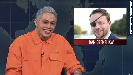 SNL's Pete Davidson made fun of the appearance of Dan Crenshaw, whose eye was destroyed by an IED while serving in Afghanistan.