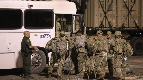 US Army soldiers move to another location near the U.S.-Mexico border on November 3, 2018 in Donna, Texas. (Photo by John Moore/Getty Images)