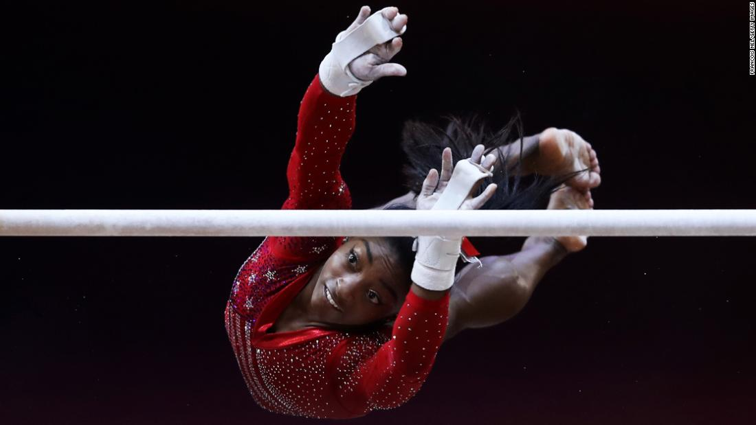 "United States gymnast Simone Biles competes in the uneven bars competition during the Women's team final at the 2018 FIG Artistic Gymnastics World Championships on October 30, 2018 in Doha, Qatar. Biles led the US to victory in the team event and also captured her <a href=""https://www.cnn.com/2018/10/30/sport/usa-womens-gymnastics-wins-world-team-championship/index.html"" target=""_blank"">record breaking fourth all-around title at the championships.</a>"