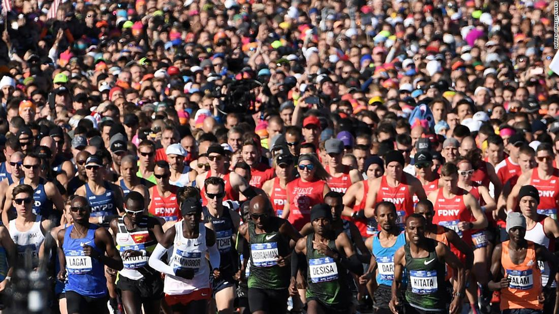 "Runners in the Professional Men's race start the New York City Marathon ahead of the general classification on November 4, 2018. Ethiopian runner Lelisa Desisa won<a href=""https://www.cnn.com/2018/11/04/us/new-york-city-marathon-winner/index.html"" target=""_blank""> the marathon with a time of 2 hours, 5 minutes and 59 seconds.</a>"