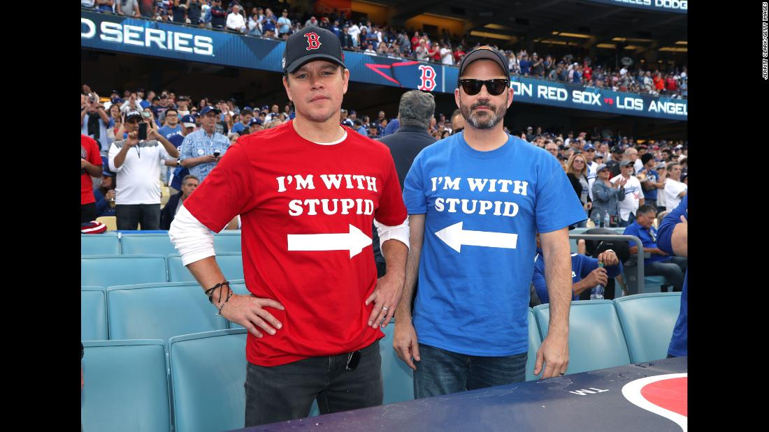 "Matt Damon and Jimmy Kimmel attend a World Series game at Dodger Stadium on October 28, 2018. The Boston native Damon and the die hard Dodgers fan Kimmel have <a href=""https://www.cnn.com/2018/10/29/entertainment/jimmy-kimmel-matt-damon-world-series/index.html"" target=""_blank"">had a long running ""feud""</a>."