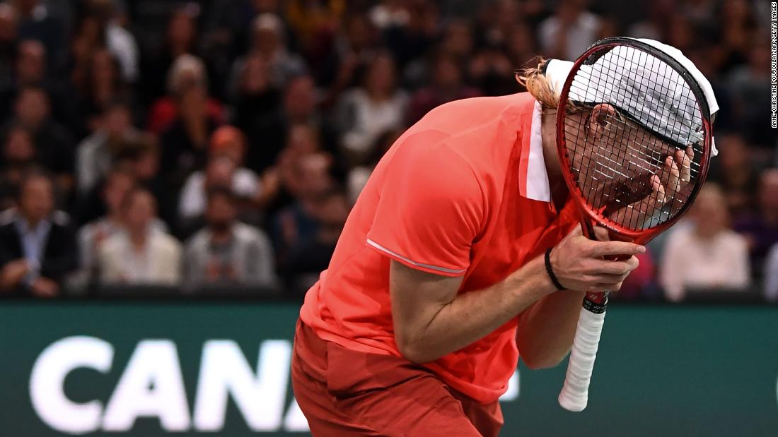 Canada's Denis Shapovalov reacts during his men's singles first round tennis match against France's Richard Gasquet at the Rolex Paris Masters indoor tennis tournament in Paris, France on October 29, 2018.
