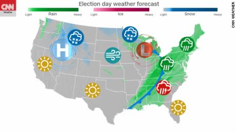 Election Day 2018 Weather Looks Wet In East And South Snowy In