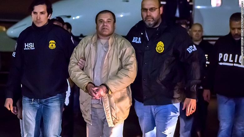 Guzman arrives in New York in January 2017 after his extradition from Mexico.