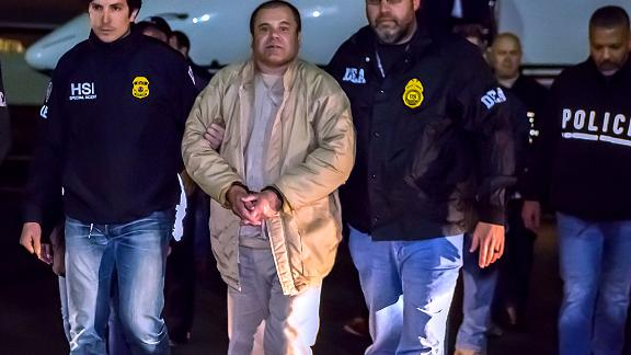 NEW YORK, NY - JANUARY 19, 2017: In this handout provided by U.S. Immigration and Customs Enforcement, Federal authorities announced Friday that Joaquin Archivaldo Guzman Loera, known by various aliases including, âEl Chapo,â? will face charges filed in Brooklyn, New York, following his extradition to the United States from Mexico. Guzman Loera arrived in New York under heavy escort by special agents with U.S. Immigration and Customs Enforcement  (ICE) Homeland Security Investigations and the Drug Enforcement Administration (DEA) and other authorities. (Photo by Charles Reed/U.S. Immigration and Customs Enforcement via Getty Images)