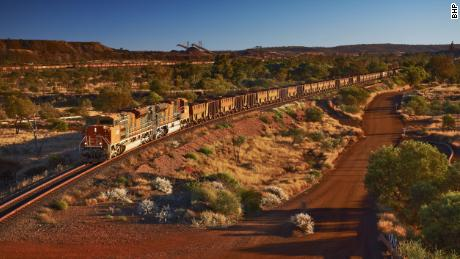 A file photo of an iron ore train in Australia, similar to the one got away on November 5.