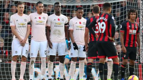 Nemanja Matic (left) opted not to wear a poppy as Manchester United beat Bournemouth on Saturday.