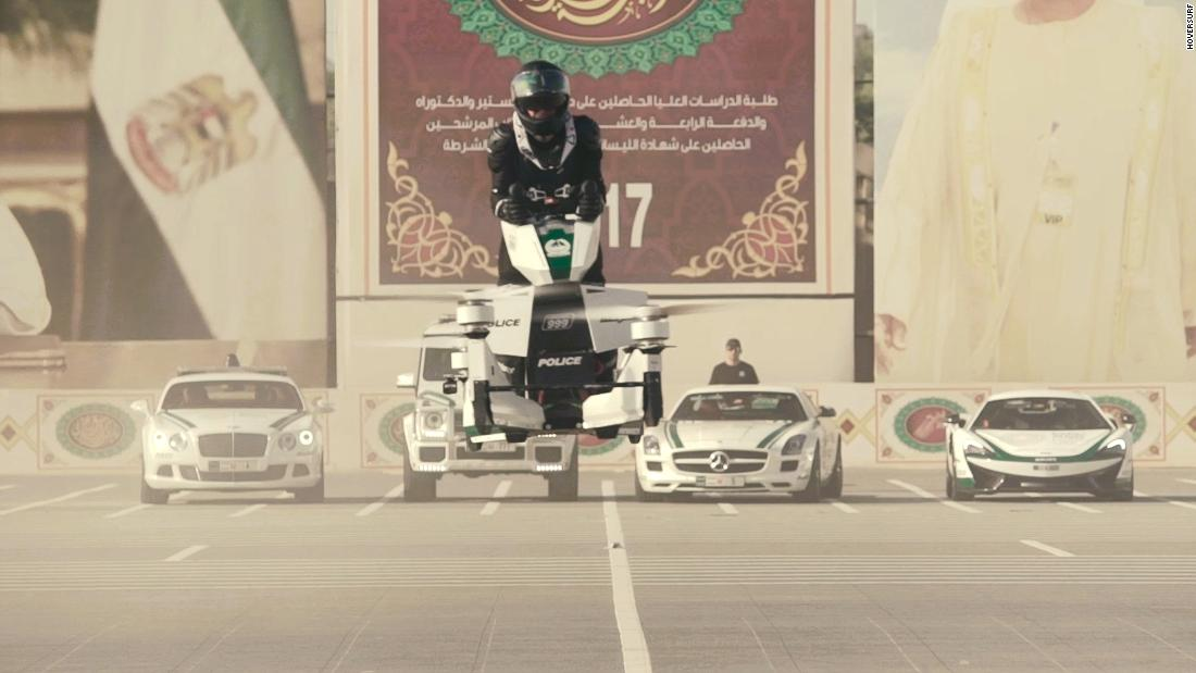 "Dubai Police testing a hoverbike in 2017. Hoversurf has designed four different prototypes. The latest, <a href=""https://www.hoversurf.com/news/hoversurf-showcases-future-technology-at-ces-2019"" target=""_blank"">debuted at CES show in February 2019</a>, swapped blades for ducted fans.<br /><br /><strong><em>Hoversurf's S3 2019 joins dozens of eVTOL vehicles at various stages of development. Swipe through to discover more.</em></strong>"