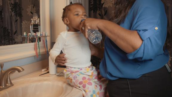 Berry also uses bottled water to brush her daughter's teeth.