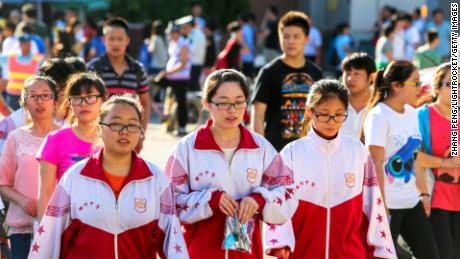 Students in China leave school after finishing their college entrance examination.