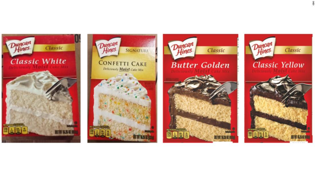 Image result for Four types of Duncan Hines cake mix recalled due to salmonella outbreak