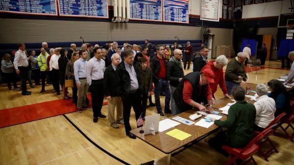 Voters line up in Doylestown, Pennsylvania.