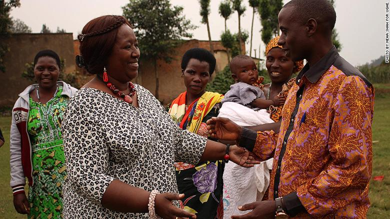 Dr. Agnes Bingwaho in Butaro, Rwanda, with community health workers in January.