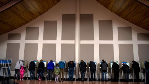 Voters cast ballots at the Century Baptist Church in Bismarck, North Dakota.