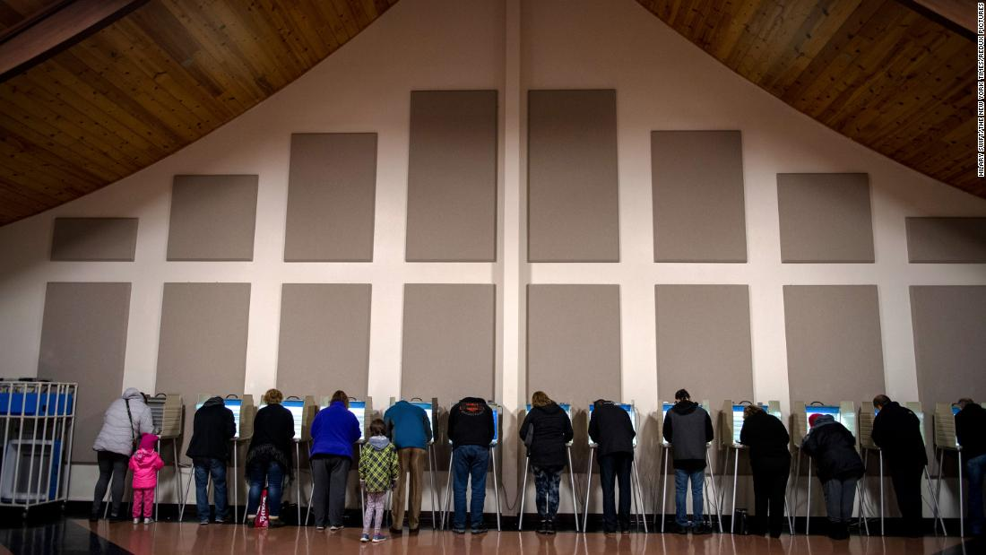 Voters cast ballots at the Century Baptist Church in Bismarck, North Dakota.