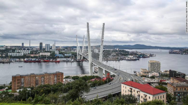 A file photo of Vladivostok's bridge across the Zolotoy Rog Bay. Investigators from the city are looking into the reports of captured whales.