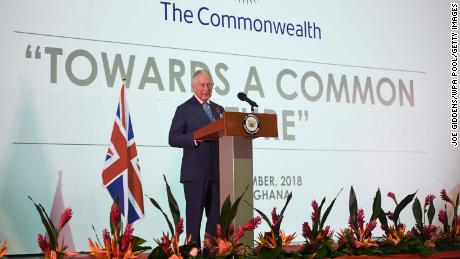 Britain's Prince Charles addresses a young entrepreneurs event Monday in Accra, Ghana.