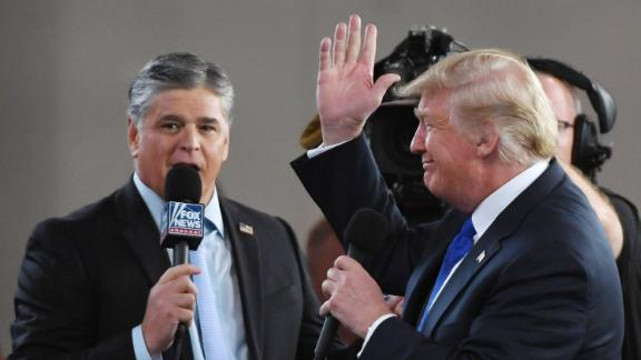 LAS VEGAS, NV - SEPTEMBER 20:  Fox News Channel and radio talk show host Sean Hannity (L) interviews U.S. President Donald Trump before a campaign rally at the Las Vegas Convention Center on September 20, 2018 in Las Vegas, Nevada. Trump is in town to support the re-election campaign for U.S. Sen. Dean Heller (R-NV) as well as Nevada Attorney General and Republican gubernatorial candidate Adam Laxalt and candidate for Nevada