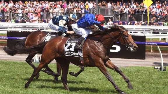 British horse Cross Counter, ridden by jockey Kerrin McEvoy wins the Melbourne Cup ahead of fellow British horse Marmelo.