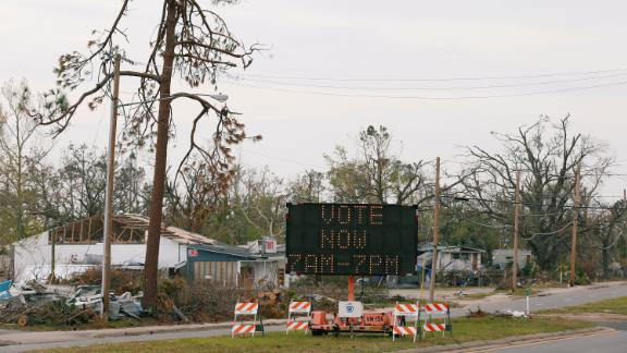 A sign directs voters to a new polling location in Parker, Florida. Hurricane Michael destroyed many schools and other buildings typically used as polling stations.
