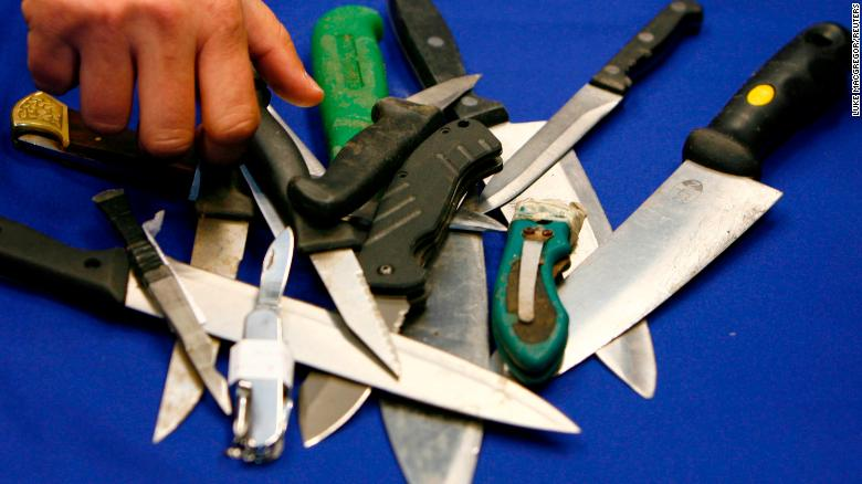 Knives seized by police in London, where stabbings are on the rise.