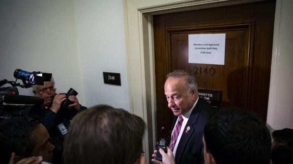 Representative Steve King, a Republican from Iowa, speaks with members of the media while arriving for a closed-door interview with Peter Strzok, an agent at the Federal Bureau of Investigation (FBI), and the joint House Judiciary & Oversight Committee on Capitol Hill in Washington, D.C., U.S., on Wednesday, June 27, 2018. Strzok, a central target of allegations by President Donald Trump and his allies of investigative bias and misconduct, has been subpoenaed to appear for closed-door questioning before two House committees.