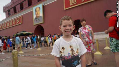 Gavin Thomas, an eight-year-old American boy who has a surprisingly huge Chinese fan base, during his visit to Beijing in 2018