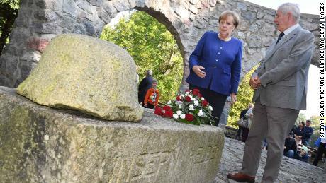 German Chancellor Angela Merkelat a memorial for fallen soldiers of World War I, in Putbus, Germany, 2017.
