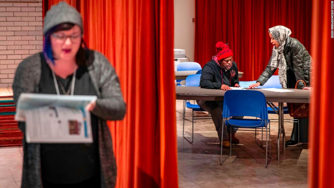 Voters cast ballots at a polling station in Minneapolis.